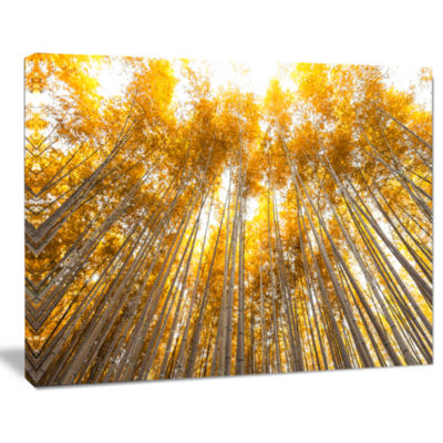 Designart Autumn Bamboo Grove In Yellow Forest Canvas Artwork