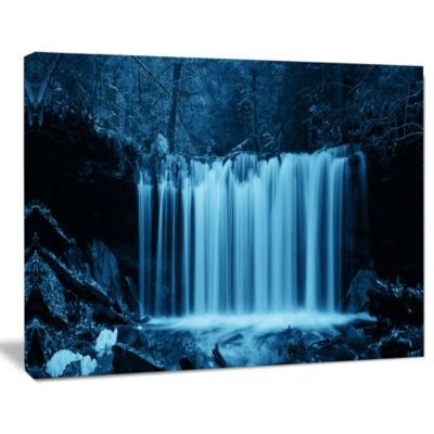 Designart Waterfalls In Wood Black And White Landscape Canvas Art Print