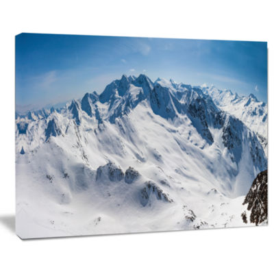 Design Art Snowy Mountains Panoramic View Landscape Canvas Art Print