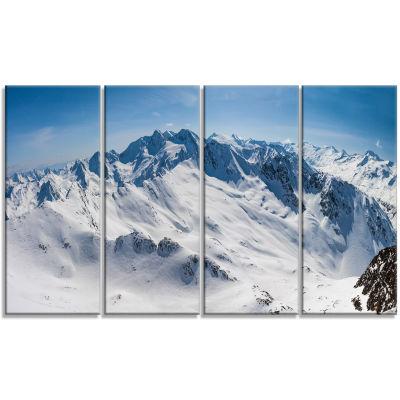 Designart Snowy Mountains Panoramic View LandscapeCanvas Art Print - 4 Panels