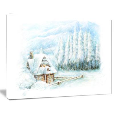 Designart Christmas Winter Happy Scene Landscape Canvas Art Print