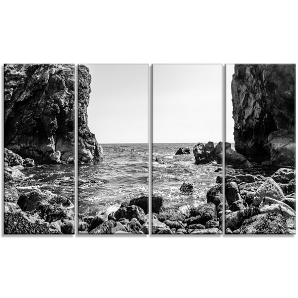 Design Art Bottom Cliffs In Dorset England Seascape Art Canvas Print - 4 Panels
