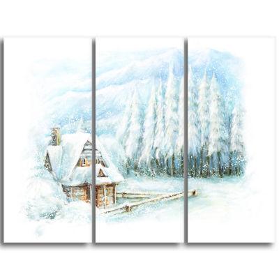 Design Art Christmas Winter Happy Scene Landscape Canvas Art Print - 3 Panels