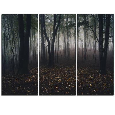 Designart Dark Spooky Misty Wild Forest Canvas Artwork - 3 Panels
