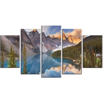Designart Moraine Lake In Banff Park Canada Landscape Canvas Art Print - 5 Panels