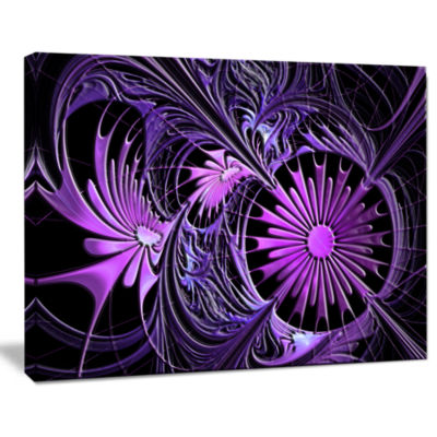 Designart Embossed Purple Floral Shapes Wall Art Canvas