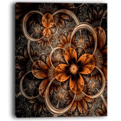 Designart Dark Orange Digital Art Fractal Flower Canvas Art Print