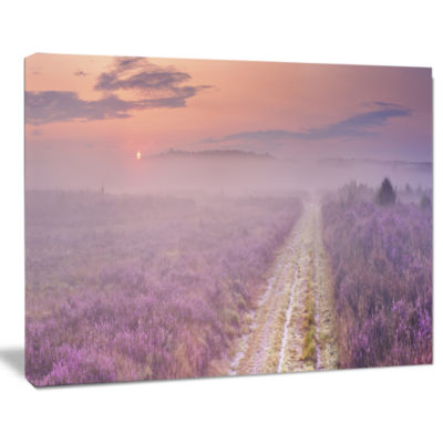 Designart Path Through Blooming Heather LandscapeCanvas Art Print