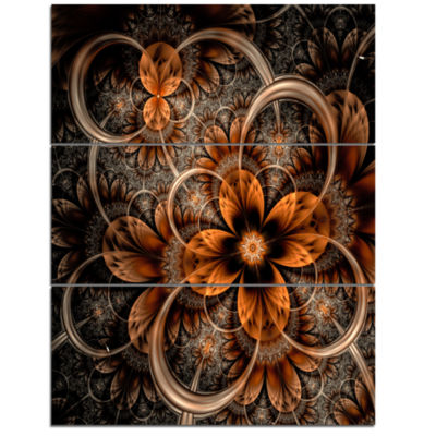 Designart Dark Orange Digital Art Fractal Flower Canvas Art Print - 3 Panels