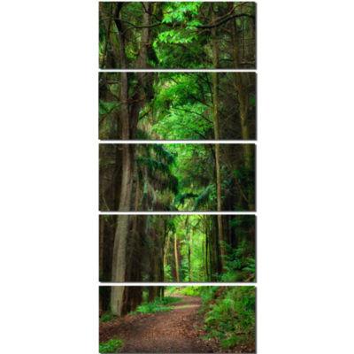 Designart Dreamy Greenery In Dense Forest Canvas Art Print - 5 Panels