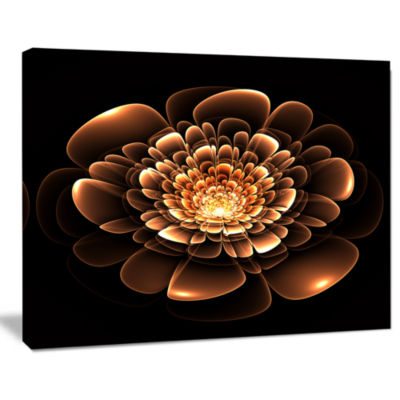 Designart Glittering Brown Yellow Fractal Flower Canvas Art Print