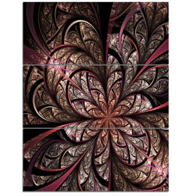 Design Art Glowing Fractal Flower Design Canvas Art Print - 3 Panels