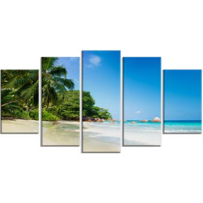 Design Art Beautiful Praslin Island Seychelles Seascape Art Canvas Print - 5 Panels