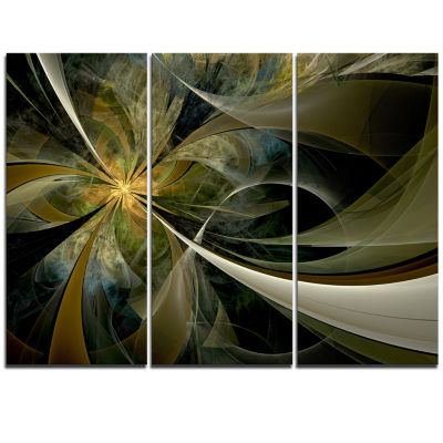 Designart Gold And Silver Fractal Flower Canvas Art Print - 3 Panels