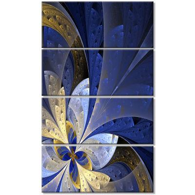 Designart Blue And Yellow Fractal Pattern Floral Canvas Art Print - 4 Panels