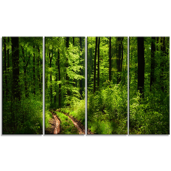 Designart Fascinating Greenery In Wild Forest Canvas Art Print - 4 Panels