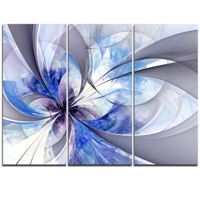 Designart Blue Symmetrical Fractal Flower Canvas Art Print - 3 Panels