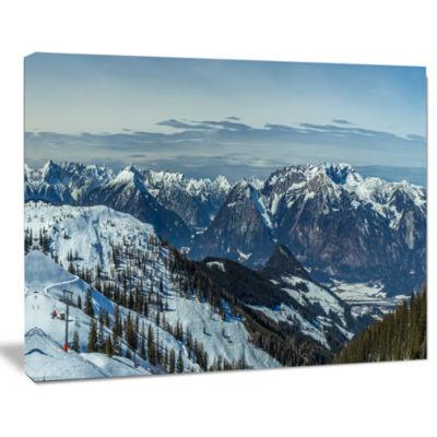 Designart White Ski Slope Panoramic View LandscapeArtwork Canvas