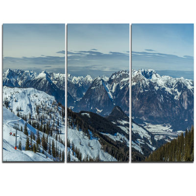 Designart White Ski Slope Panoramic View LandscapeArtwork Canvas - 3 Panels