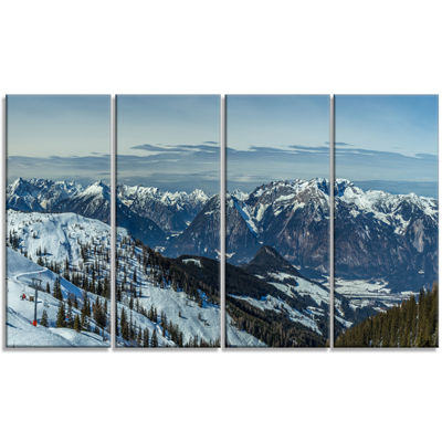 Designart White Ski Slope Panoramic View LandscapeArtwork Canvas - 4 Panels