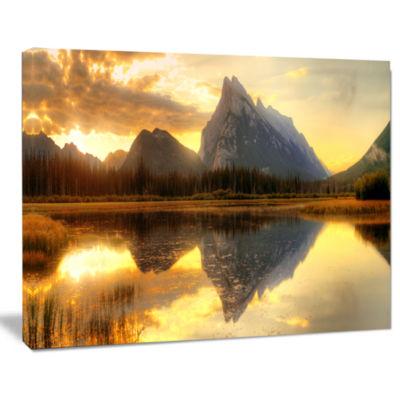 Designart Vermillion Lake Sunrise In Banff Park Landscape Canvas Art Print