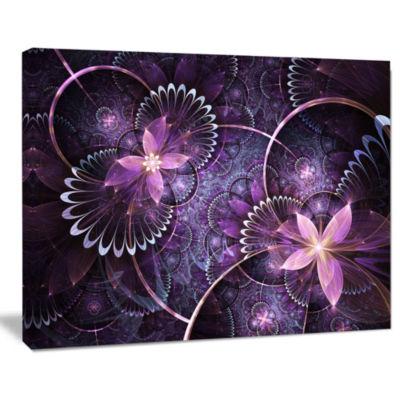 Designart Fractal Flower Soft Purple Digital Art Canvas Wall Art