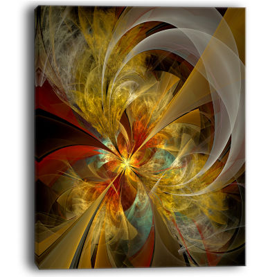 Designart Bright Yellow Symmetrical Flower DesignCanvas Art Print
