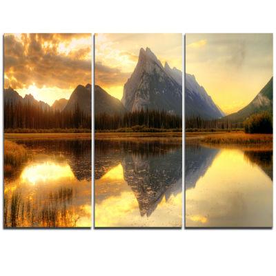 Design Art Vermillion Lake Sunrise In Banff Park Landscape Canvas Art Print - 3 Panels
