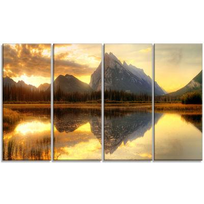 Designart Vermillion Lake Sunrise In Banff Park Landscape Canvas Art Print - 4 Panels