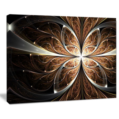 Designart Fractal Flower Brown Black Digital Art Canvas Art Print