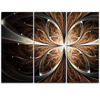Designart Fractal Flower Brown Black Digital Art Canvas Art Print - 3 Panels