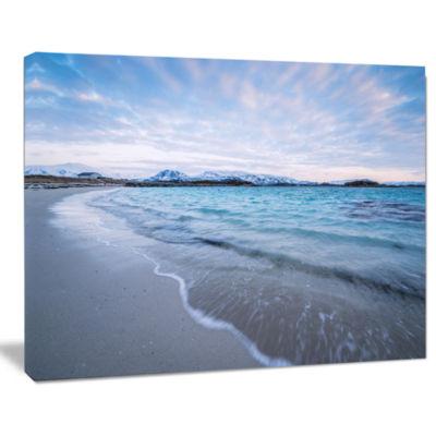 Designart Waves Splashing The Calm Seashore ModernCanvas Artwork