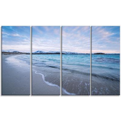 Design Art Waves Splashing The Calm Seashore Modern Canvas Artwork - 4 Panels