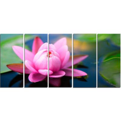 Designart Lotus Flower In The Pond Canvas Art Print - 5 Panels