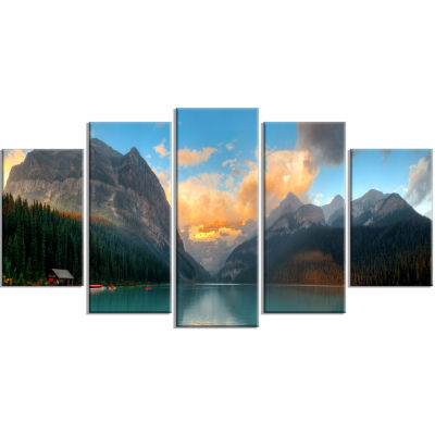 Designart Lake Louise Sunrise Banff Park Modern Seascape Canvas Artwork - 5 Panels