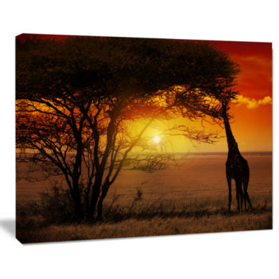 Design Art Typical African Sunset With Giraffe African Landscape Canvas Art