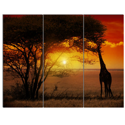Designart Typical African Sunset With Giraffe African Landscape Canvas Art - 3 Panels