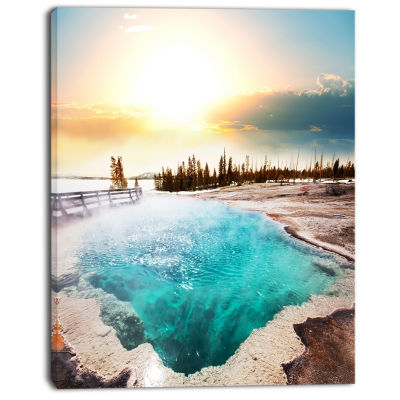 Designart Crystal Clear Lake In Yellowstone Landscape Canvas Art