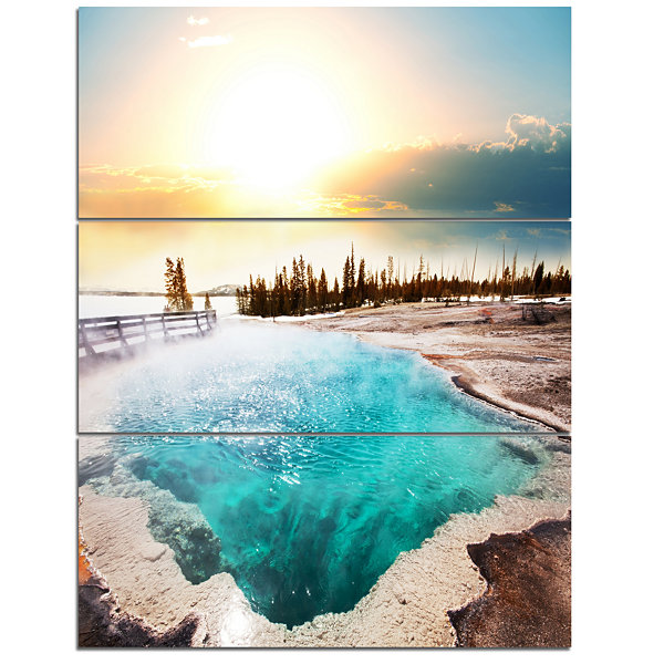 Design Art Crystal Clear Lake In Yellowstone Landscape Canvas Art - 3 Panels