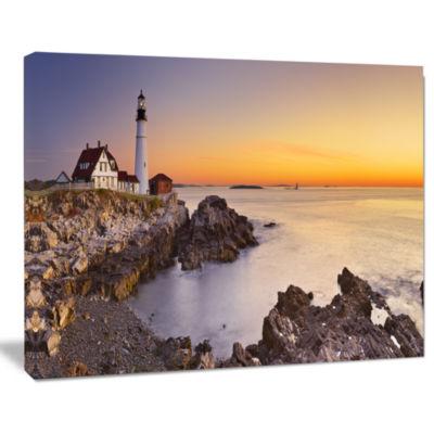 Designart Portland Head Lighthouse Maine Modern Seascape Canvas Artwork