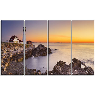 Designart Portland Head Lighthouse Maine Modern Seascape Canvas Artwork - 4 Panels