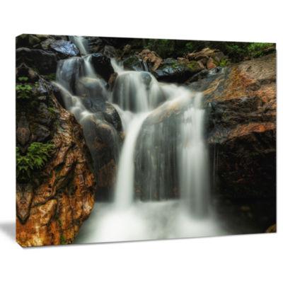 Designart Slow Motion Waterfall On Rocks LandscapeCanvas Art Print