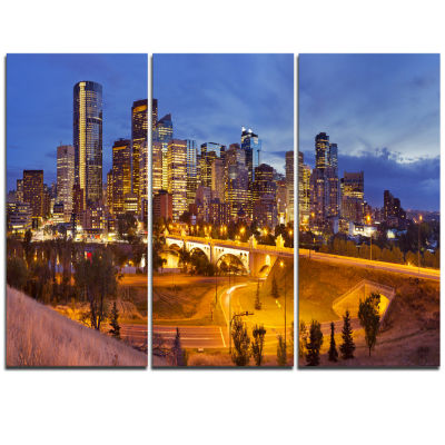 Design Art Skyline Of Calgary At Night Panorama Modern Cityscape Canvas Wall Art - 3 Panels