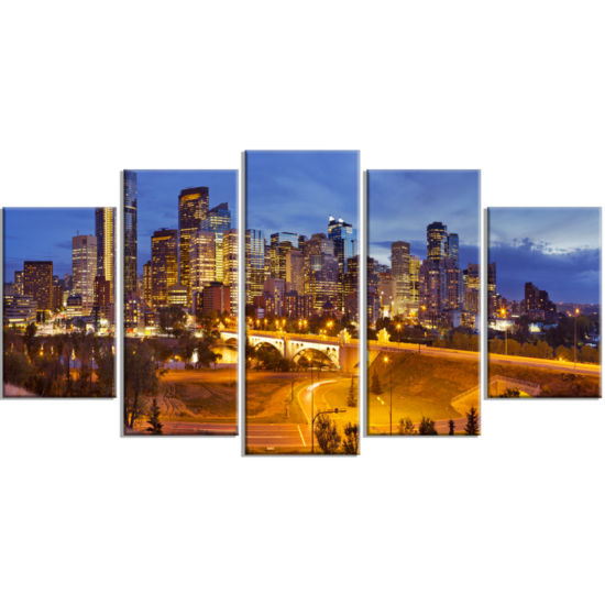 Design Art Skyline Of Calgary At Night Panorama Modern Cityscape Canvas Wall Art - 5 Panels