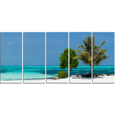 Design Art Beach With White Sand And Turquoise Water Modern Seascape Canvas Artwork - 5 Panels