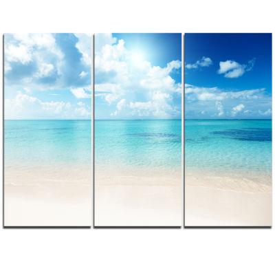 Design Art Sand Of Beach In Blue Caribbean Sea Modern Canvas Artwork - 3 Panels