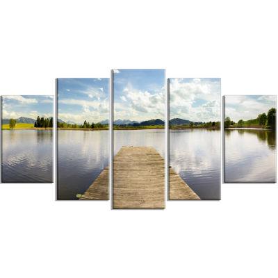 Designart Pier Into Sea Bavaria Panorama Art Canvas Print - 5 Panels