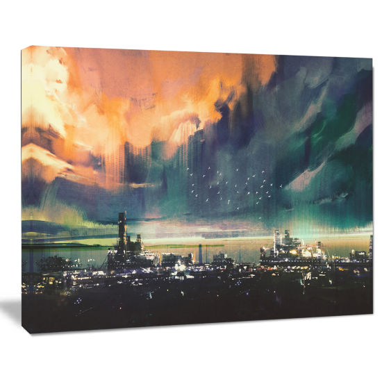 Designart Abstract Sci Fi City Watercolor Photography Canvas Art