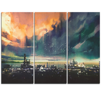Design Art Abstract Sci Fi City Watercolor Photography Canvas Art - 3 Panels
