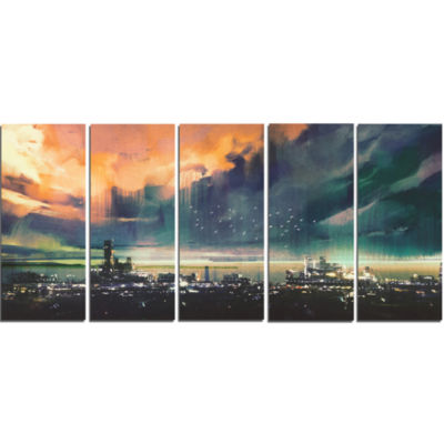 Design Art Abstract Sci Fi City Watercolor Photography Canvas Art - 5 Panels
